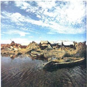 Поселение на искусственном острове на озере Титикака.
