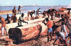 Рабочие на лесоразработках. Кот-Д'Ивуар.
