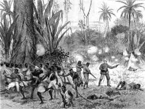 Третья англо-ашантийская война. Бой в буше, 1874, гравюра.