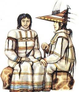 Алеуты в традиционных костюмах.