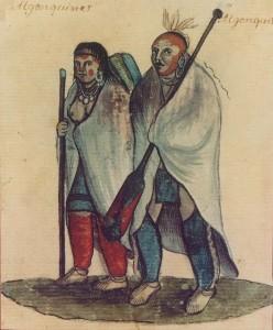 Пара алконгинов с реки Оттава. Акварель, 18 в.