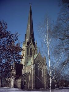 Церковь Христа. Фредериктон, начало строительства 1845.