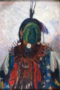Воин Черный Человек, в боевой раскраске. Художник Бербанк, 1899.