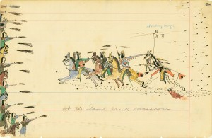 Рисунок Воющего Волка - очевидца резни шайенов и арапахо американцами у Песчаного Ручья в 1864.