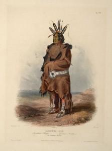 Воин арикара. Художник Карл Бодмер, 1840-1843.