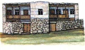 Жилой комплекс 1930-х гг. Хозяйственные помещения высечены в скале.