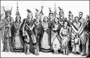 Группа индейцев айова, путешествовавших по Европе с Кэтлином в 1844 г.